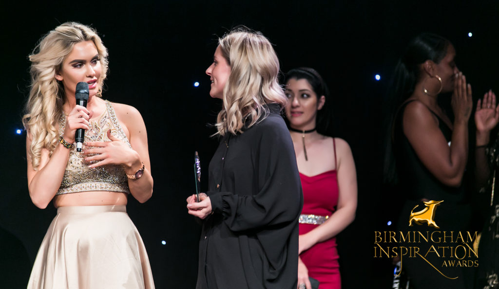 Top UK Model Director Bee Furey presents UCB with a special Award for their outstanding contribution to the Birmingham Inspiration Awards and Top UK Model finals