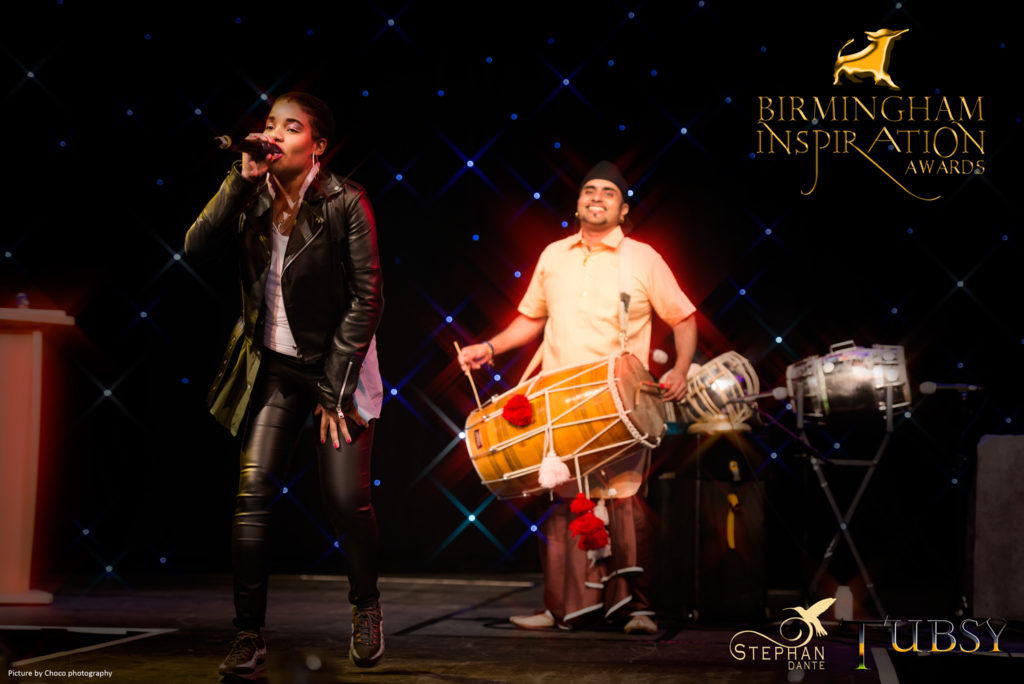 Stephan Dante and Bhangra Great Tubsy perform at the Birmingham Inspiration Awards - picture by choco photography