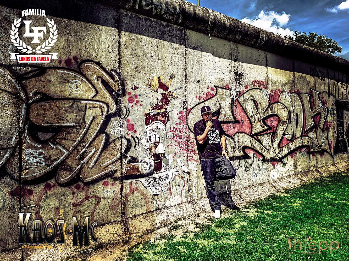 Kaos Mc at the Berlin Wall in Germany where he shot footage for one of his videos.