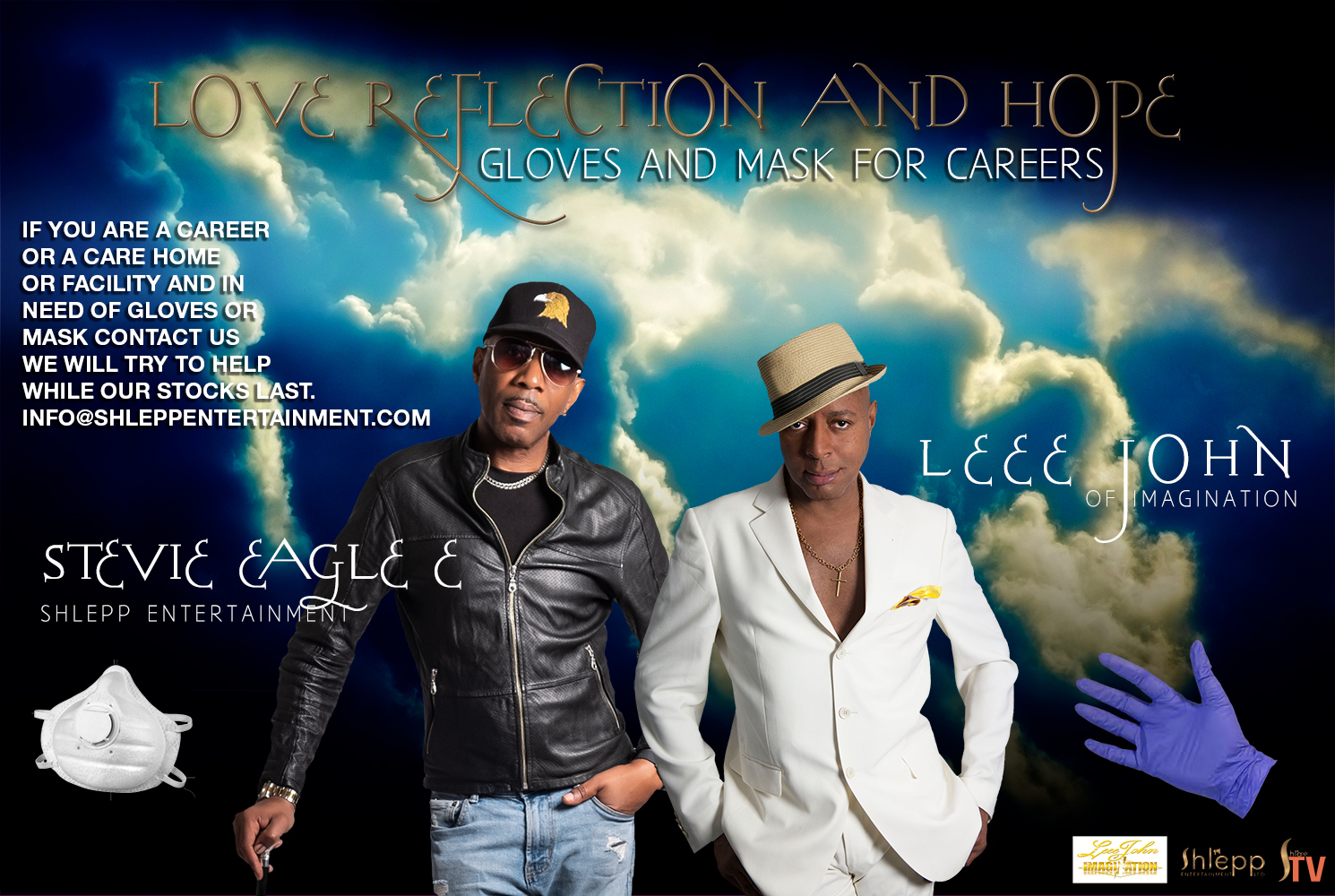 Leee John of Imagination and Stevie Eagle E of Shlepp Entertainment supplying mask and gloves to careers in the UK